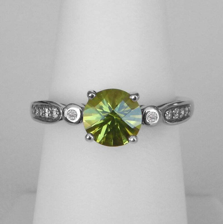white gold peridot and diamond ring