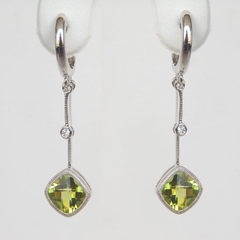 white gold peridot and diamond dangle earrings