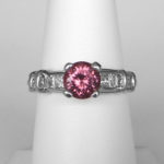 platinum pink zircon and diamond ring