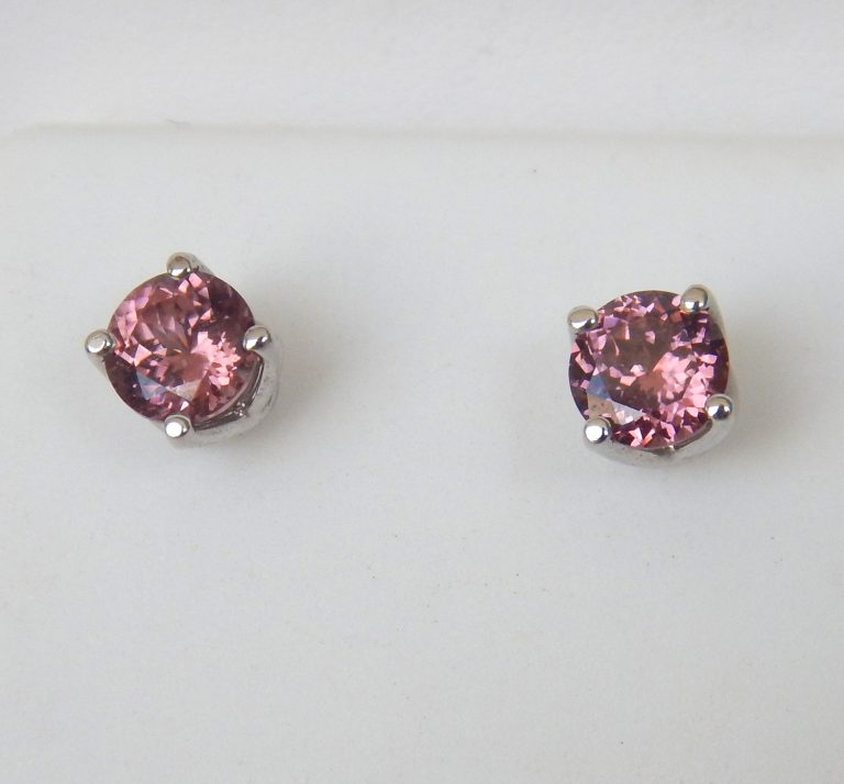 pink zircon studs in white gold setting