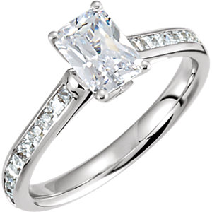 radiant accented diamond engagement ring