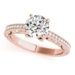 rose gold diamond accented engagement ring with milgrain edges