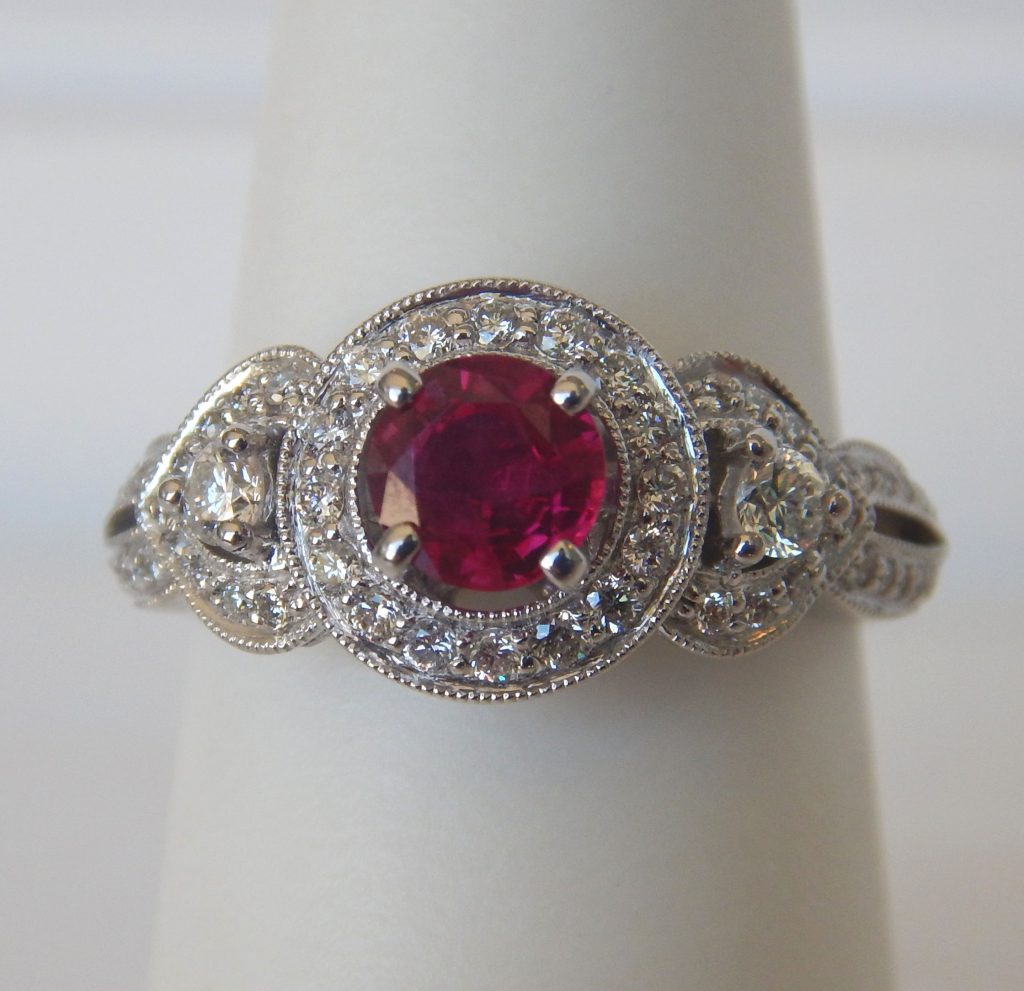 white gold ruby antique ruby and diamond ring