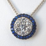 white gold sapphire and diamond pendant
