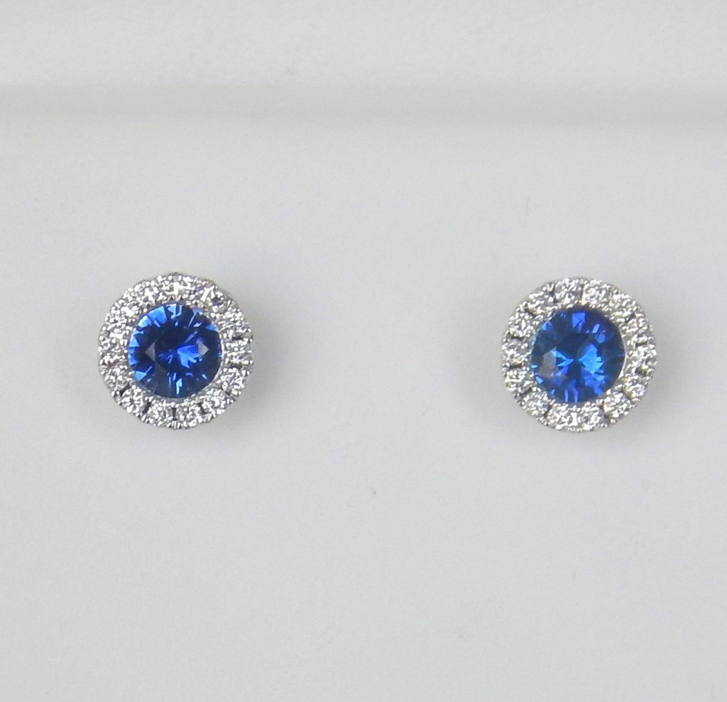 Sapphire And Diamond Halo Studs In White Gold Setting