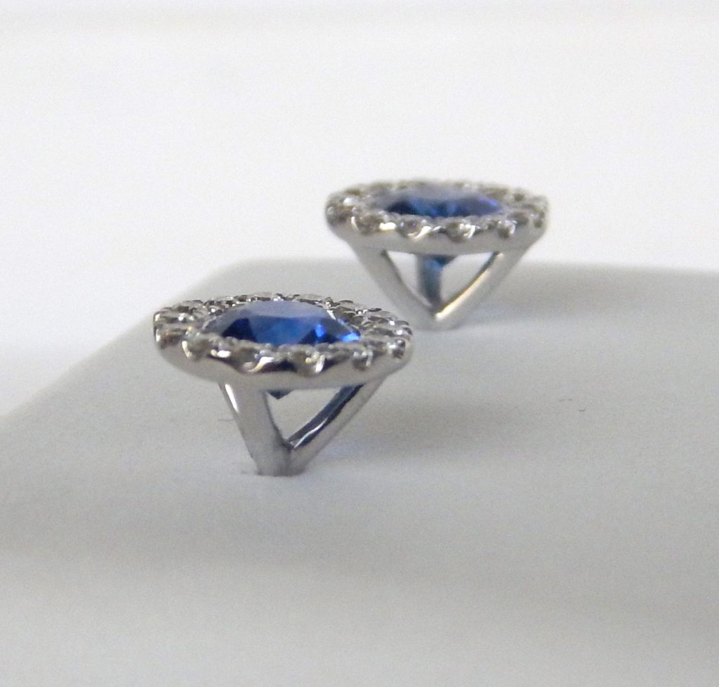 Side View Of Sapphire And Diamond Studs