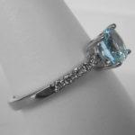 side view of aquamarine and diamond ring