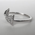 side view of white gold open diamond triangular ring