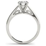 side view of white gold solitaire engagement ring