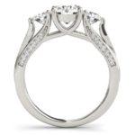 side view of three stone diamond engagement ring