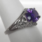 side view of white gold amethyst ring