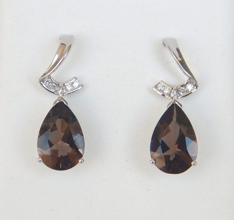 white gold smokey quartz and diamond dangle earrings