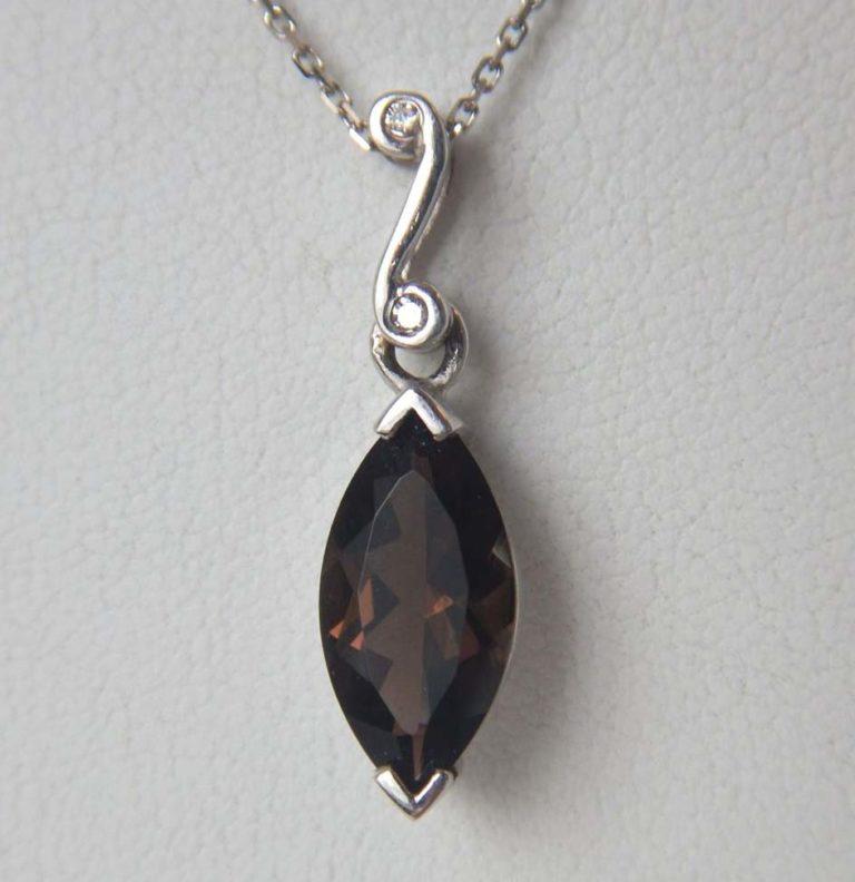 white gold smoky quartz and diamond pendant