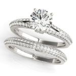 split shank engagement ring with matching diamond band