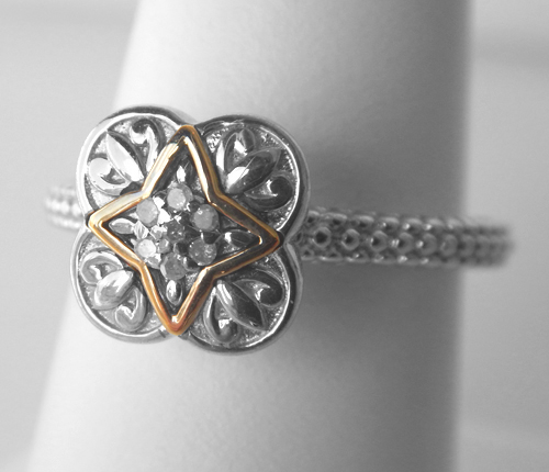 sterling silver and yellow gold diamond ring