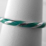 sterling silver green twist enamel ring