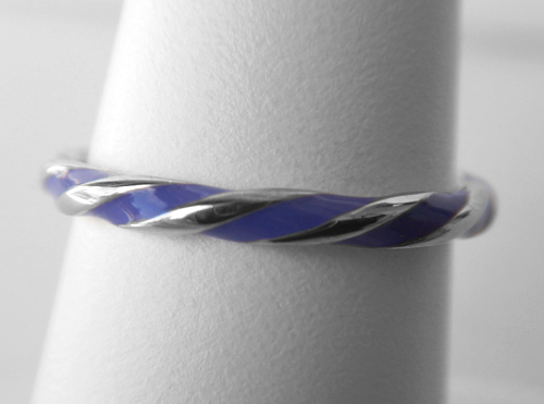 sterling silver purple enamel twisted ring