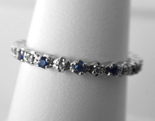 sterling silver sapphire and diamond band