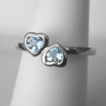 sterling silver two heart aquamarine ring