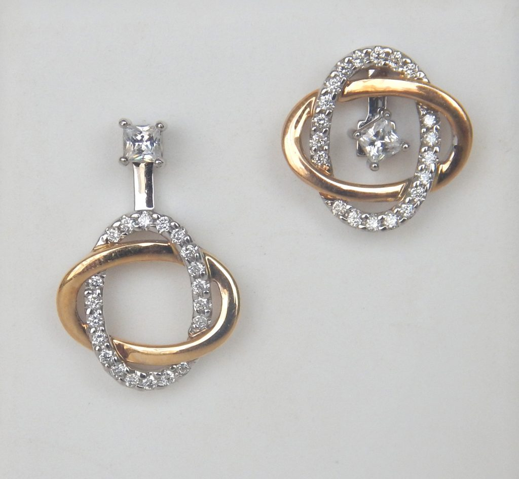 Two Tone Gold Diamond Earring Jackets