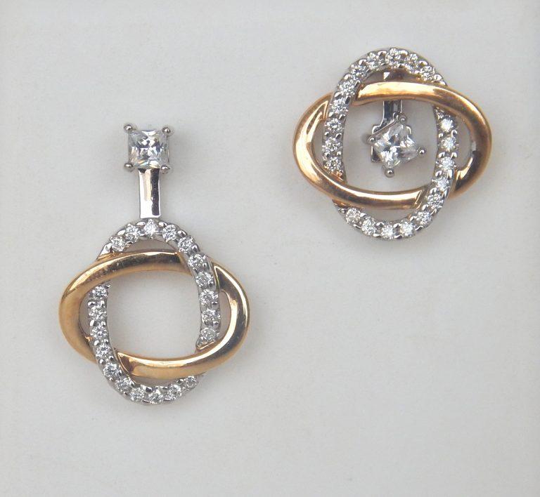two tone gold diamond earring jackets