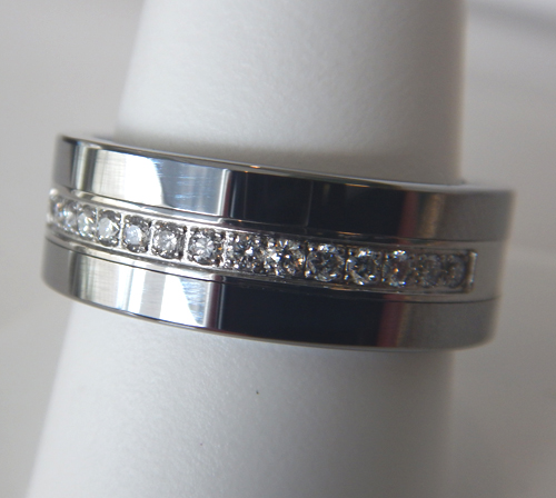 mens wedding band with diamonds