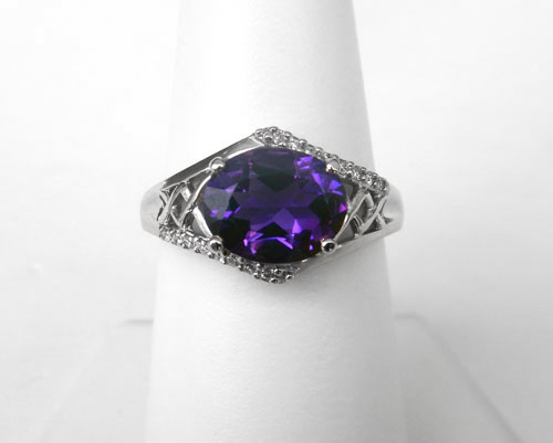 white gold amethyst and diamond ring