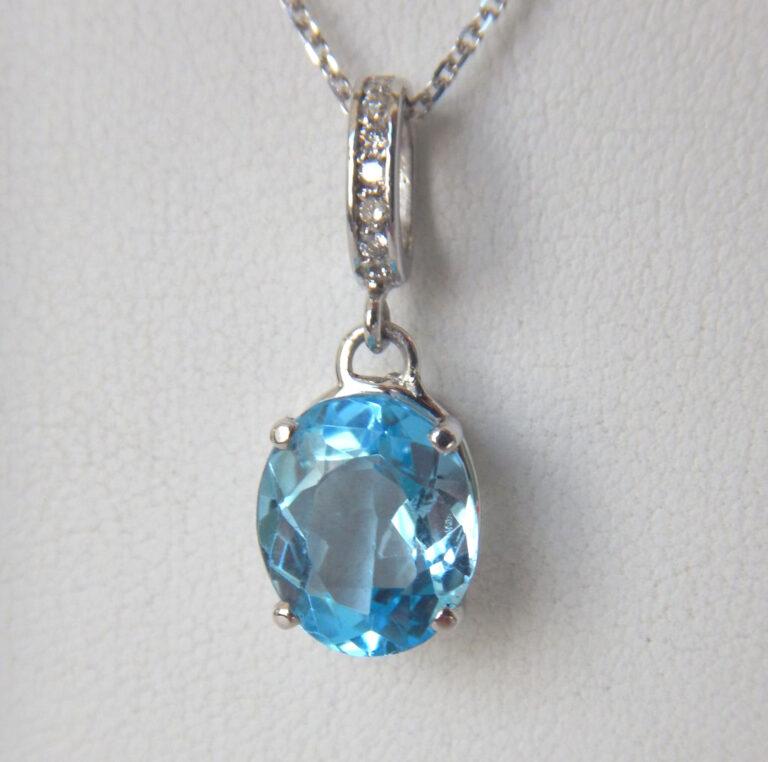 white gold blue topaz and diamond drop pendant