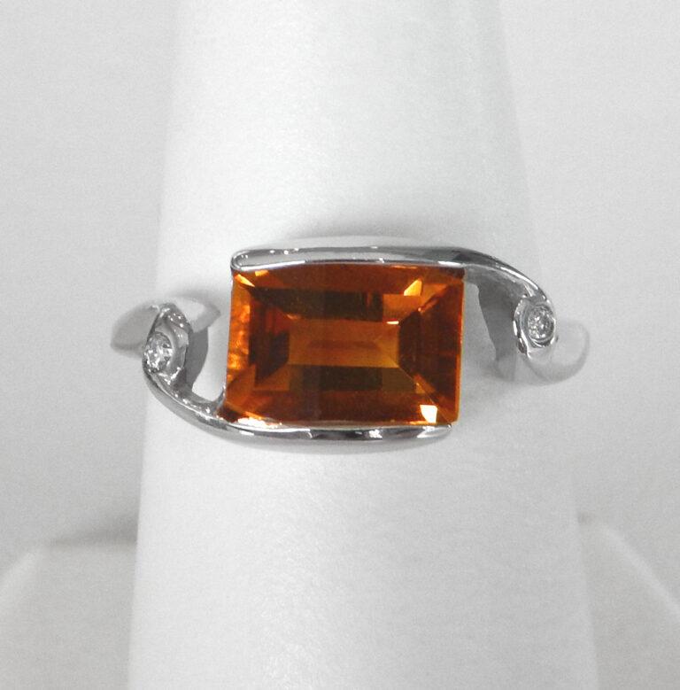white gold citrine and diamond ring