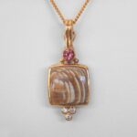 yellow gold Sycamore Fossil Pendant with diamonds and tourmaline
