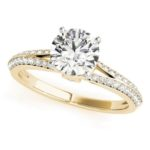 yellow gold split shank diamond engagement ring
