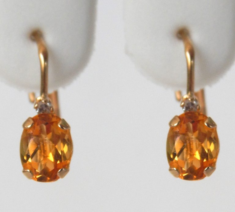 yellow gold citrine and diamond earrings