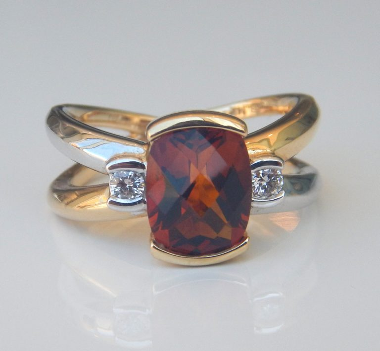 two tone gold citrine and diamond ring