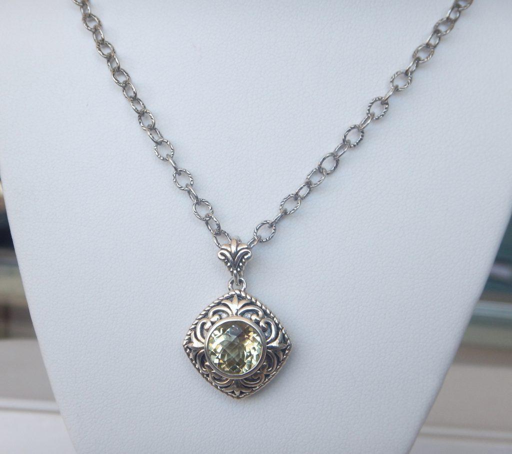 Lemon quartz pendant kloiber jewelers sterling silver lemon quartz necklace mozeypictures Images