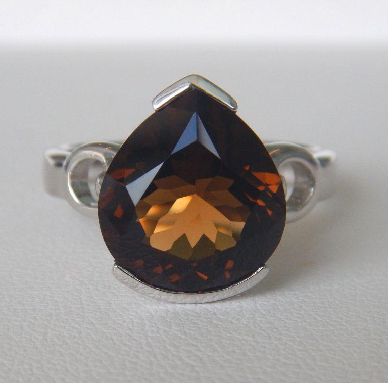 sterling silver cognac quartz ring