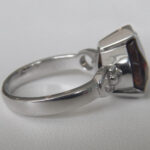 side view of sterling silver cognac quartz ring