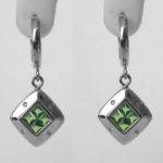 white gold tsavorite garnet and diamond dangle earrings