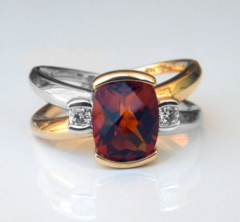 two tone gold citrine and diamond fashion ring