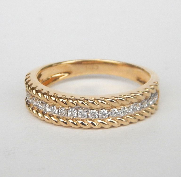 yellow gold diamond rope ring