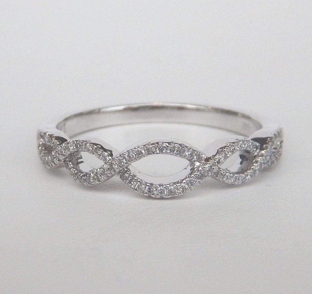 white gold diamond infinity style ring