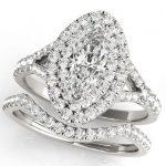 marquise diamond halo engagement ring with matching wedding band