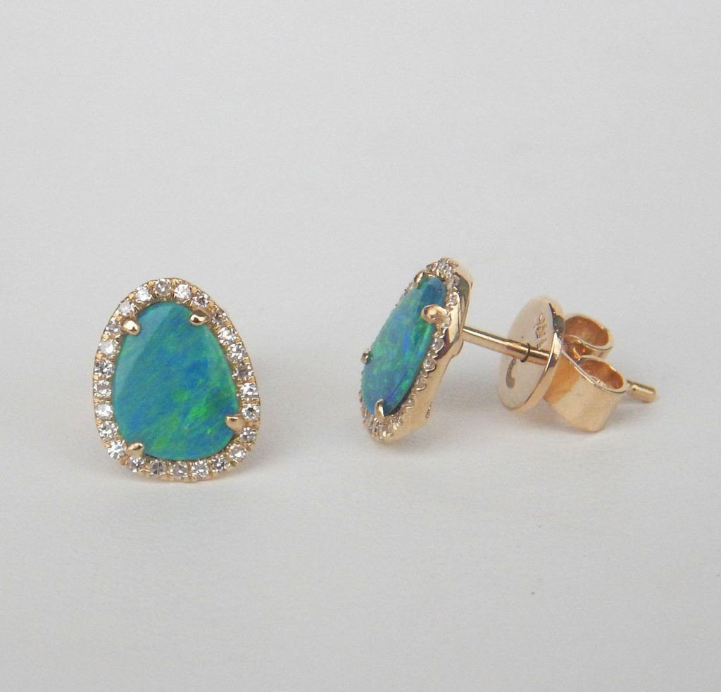 Black Opal And Diamond Halo Earring In Yellow Gold Setting