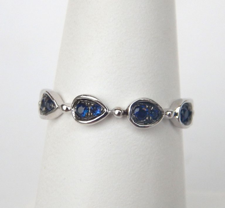 sapphire stacking ring white gold