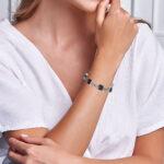 smoky quartz bracelet on wrist