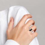 sterling silver cat ring on finger