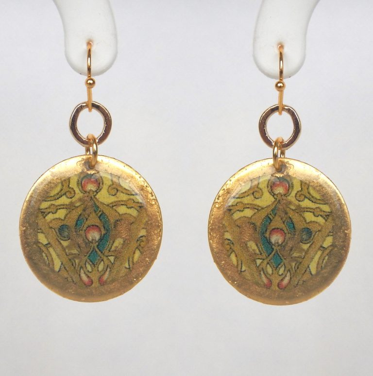 yellow gold circular dangle earrings with intricate design