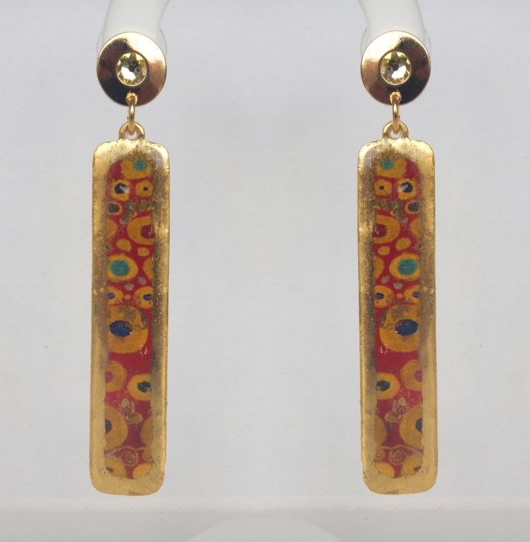 yellow gold column earrings with red, yellow, and blue circular design