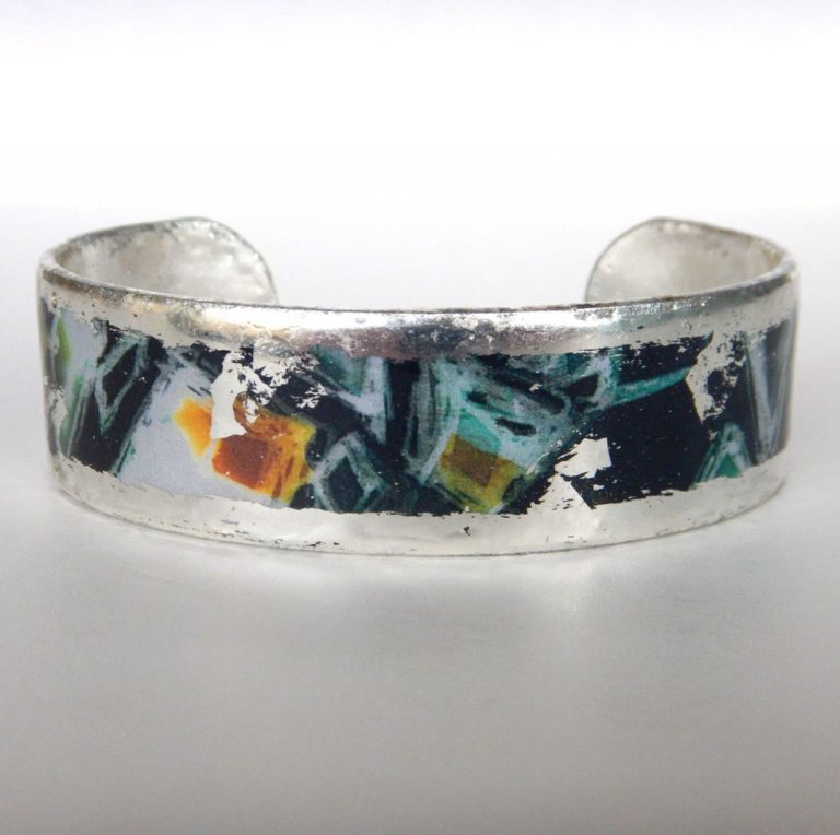 silver cuff bracelet with contemporary design