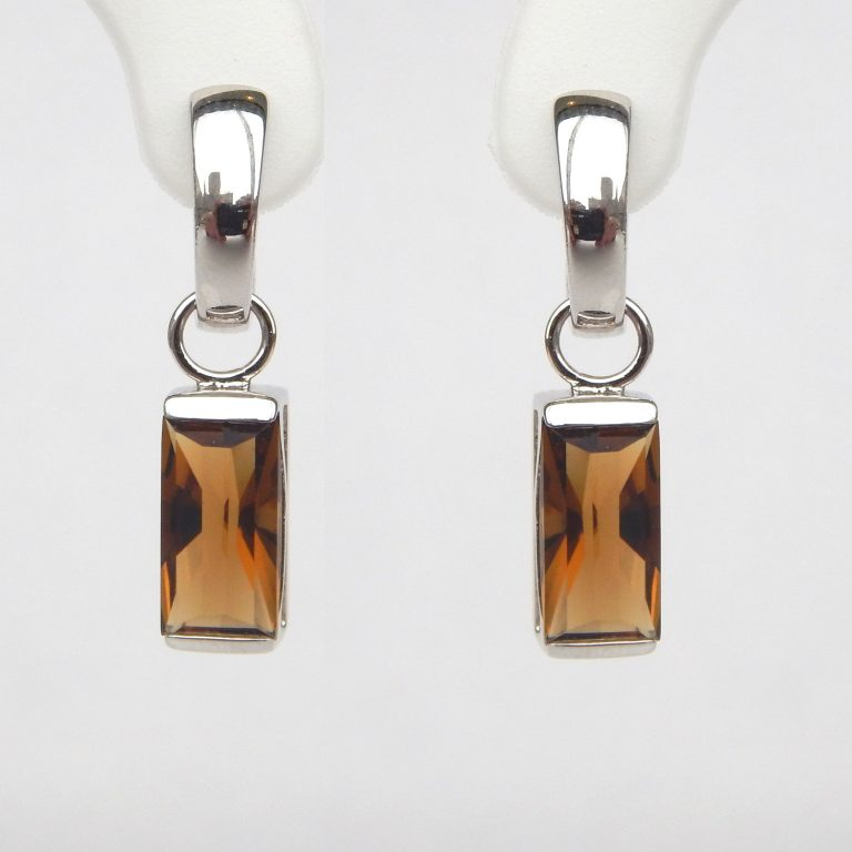 rectangular cognac quartz dangle earrings