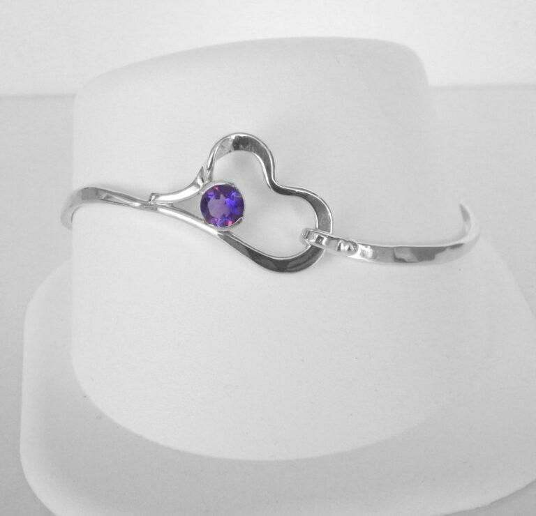 sterling silver amethyst heart bracelet